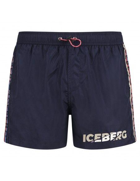 Iceberg Beachwear - Bermuda mare blu con stampa logo e bande laterali per uomo
