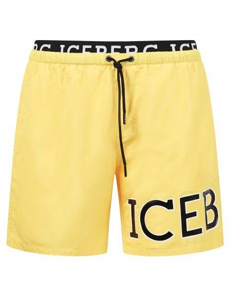 Iceberg Beachwear - Bermuda mare gialla con fascia logata e coulisse per uomo |
