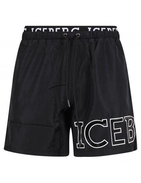 Iceberg Beachwear - Bermuda mare nera con fascia logata e coulisse per uomo |