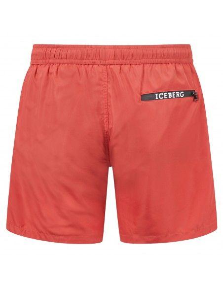 Iceberg Beachwear - Bermuda mare rossa con stampa logo e coulisse per uomo |
