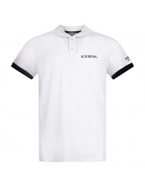 Iceberg Beachwear - Polo bianca manica corta con patch logo per uomo |