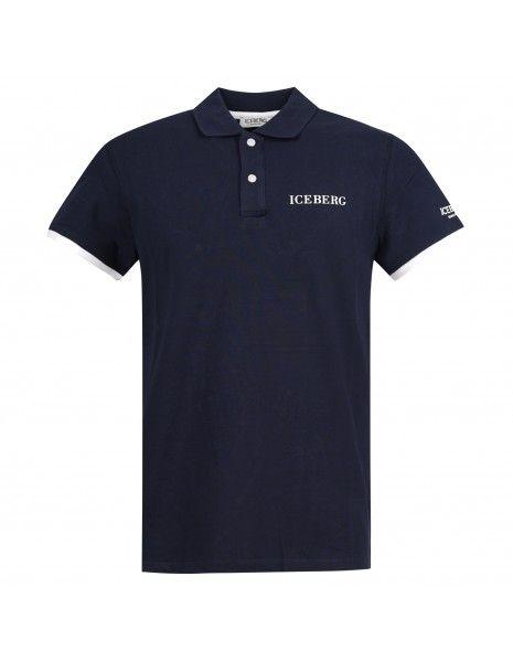 Iceberg Beachwear - Polo blu manica corta con patch logo per uomo | ice1mpl01