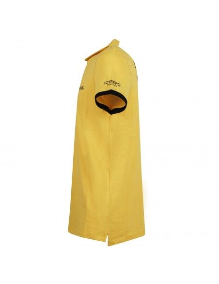 Iceberg Beachwear - Polo gialla manica corta con patch logo per uomo  
