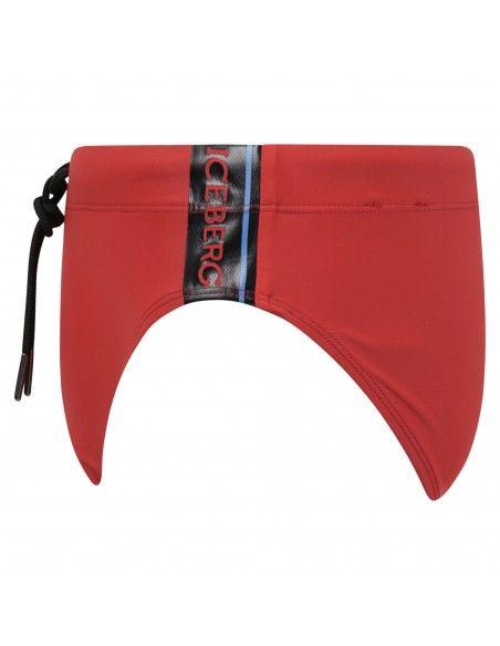 Iceberg Beachwear - Slip mare rosso con stampa logo laterale e coulisse per