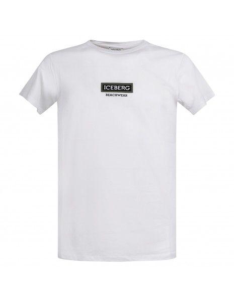 Iceberg Beachwear - T-shirt bianca manica corta con logo gommato sul fronte per