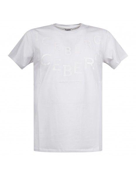 Iceberg Beachwear - T-shirt bianca manica corta con stampa logo frontale per