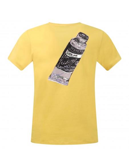 Iceberg Beachwear - T-shirt gialla manica corta con logo gommato sul fronte per