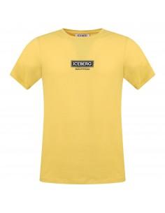 T-shirt gialla  manica corta con logo gommato sul fronte