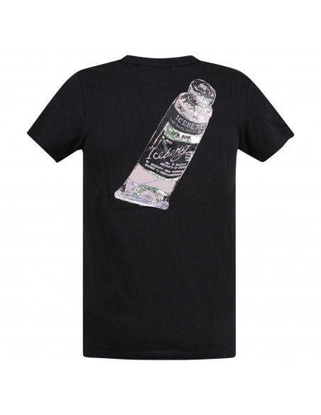 Iceberg Beachwear - T-shirt nera manica corta con logo gommato sul fronte per