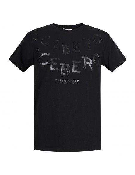 Iceberg Beachwear - T-shirt nera manica corta con stampa logo frontale per uomo