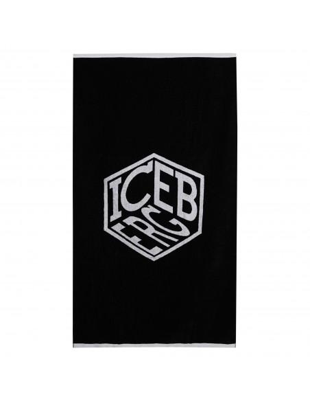 Iceberg Beachwear - Telo mare nero con stampa multi logo per uomo   ice1mbt01