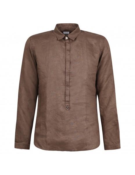 Officina36 - Camicia marrone in lino con orli sfilacciati per uomo | 3929 vasco
