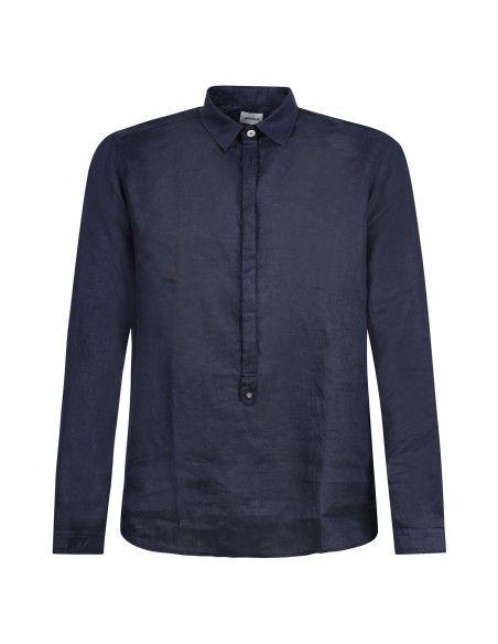 Officina36 - Camicia blu in lino con orli sfilacciati per uomo | 3929 vasco