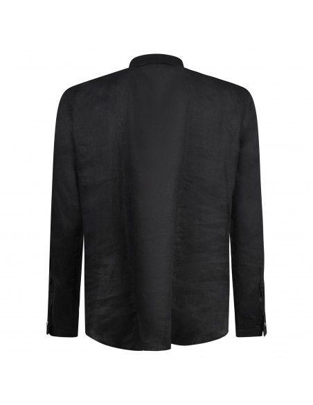 Officina36 - Camicia nera in lino con orli sfilacciati per uomo | 3929 vasco