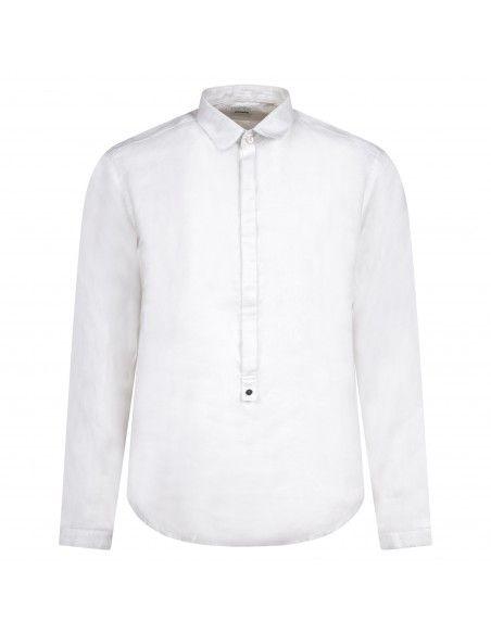 Officina36 - Camicia bianca in lino con orli sfilacciati per uomo | 3929 vasco