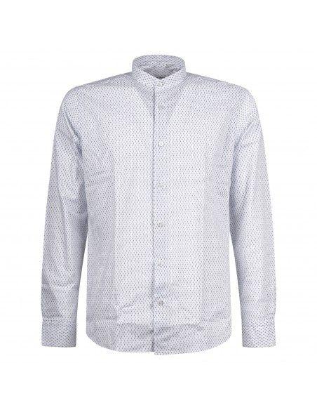 Lavorazione Sartoriale - Camicia bianca coreana slim fit con stampa jacquard