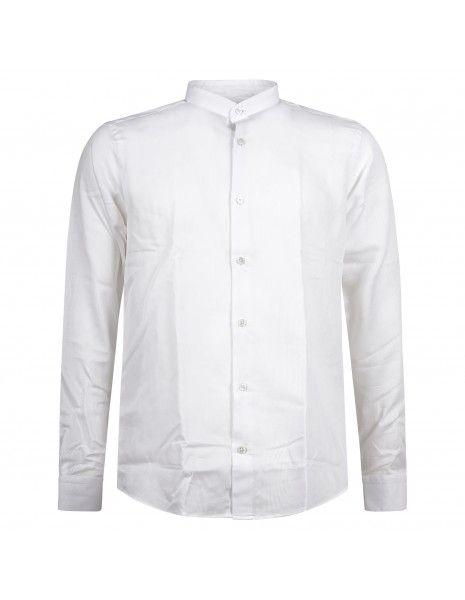 Lavorazione Sartoriale - Camicia bianca coreana slim fit con lavorazione per