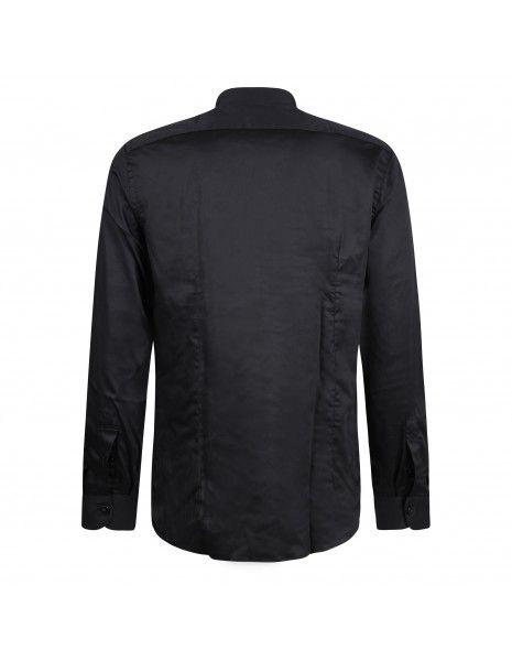 Lavorazione Sartoriale - Camicia nera coreana in cotone custom fit per uomo |