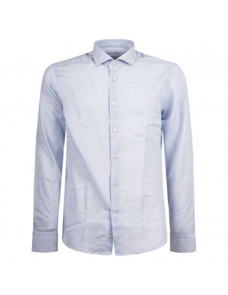 Lavorazione Sartoriale - Camicia celeste slim fit con lavorazione per uomo |