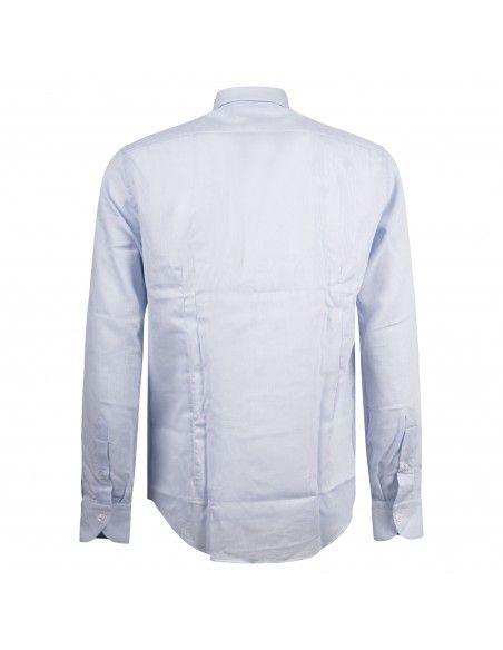 Lavorazione Sartoriale - Camicia celeste custom fit con lavorazione per uomo  