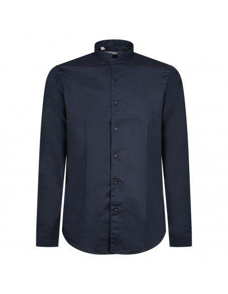 Havana & Co - Camicia blu coreana in cotone slim fit per uomo | h4879 t2044e blu