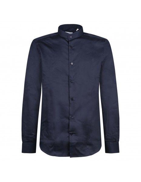 Lavorazione Sartoriale - Camicia blu coreana in cotone slim fit per uomo |