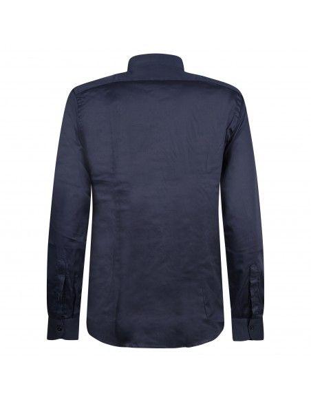 Lavorazione Sartoriale - Camicia blu coreana in cotone custom fit per uomo |