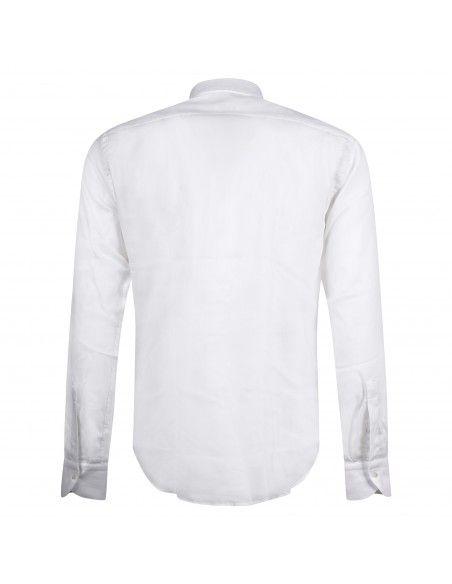 Lavorazione Sartoriale - Camicia bianca custom fit con lavorazione per uomo |