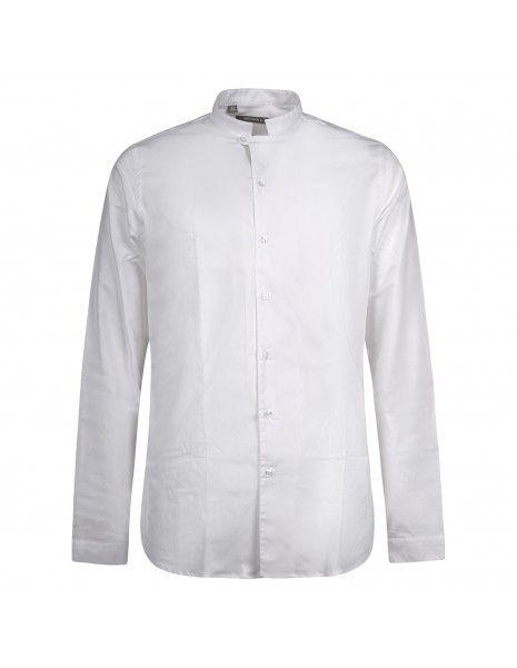 Havana & Co - Camicia bianca coreana in cotone slim fit per uomo | h4879 t2044e