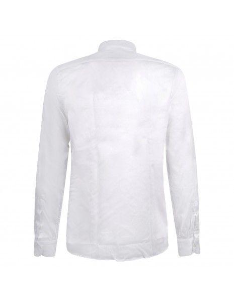 Lavorazione Sartoriale - Camicia bianca coreana in cotone custom fit per uomo |