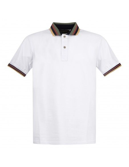 Blu Cashmere - Polo bianca manica corta con collo rigato per uomo | polo collo