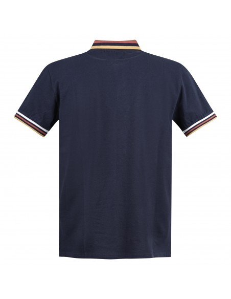 Blu Cashmere - Polo blu manica corta con collo rigato per uomo | polo collo