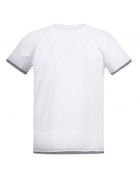 Blu Cashmere - T-shirt bianca manica corta con taschino e risvolti a contrasto