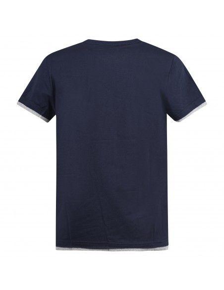 Blu Cashmere - T-shirt blu a manica corta con taschino e risvolti a contrasto