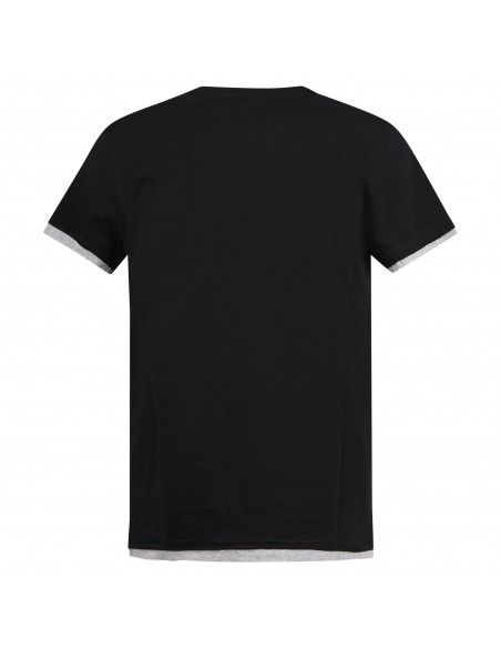 Blu Cashmere - T-shirt nera a manica corta con taschino e risvolti a contrasto