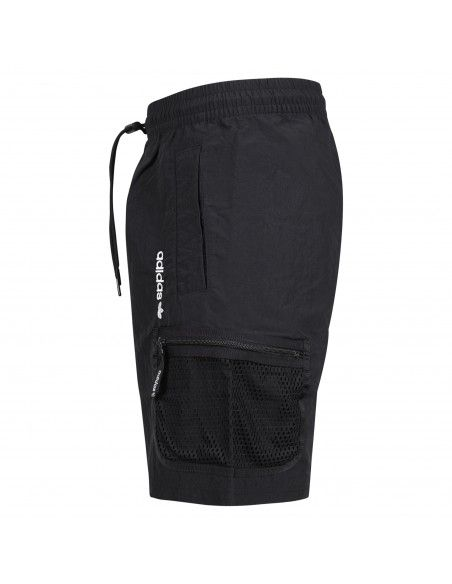 Adidas Originals - Bermuda nera con coulisse e tasconi laterali retinati per