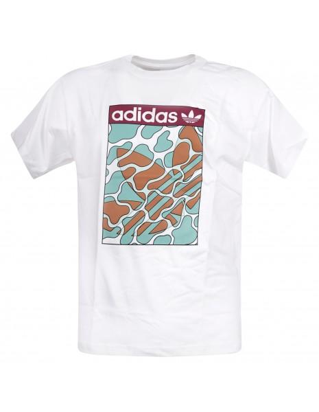 Adidas Originals - T-shirt bianca manica corta con stampa centrale logata per