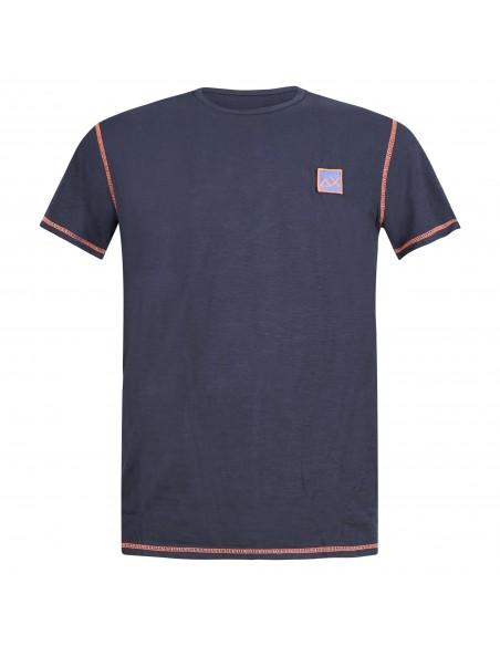 Sun68 - T-shirt blu manica corta con patch logo sul petto per uomo | t31120-07