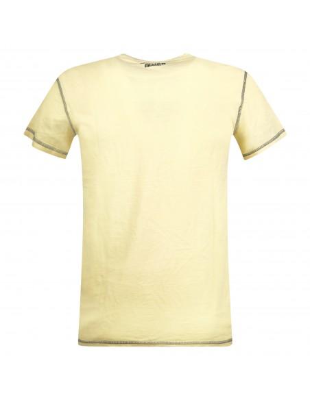 Sun68 - T-shirt gialla manica corta con patch logo sul petto per uomo |
