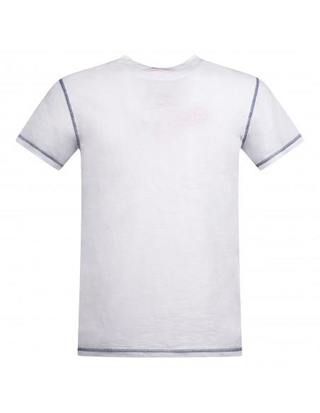 Sun68 - T-shirt bianca manica corta con patch logo sul petto per uomo |