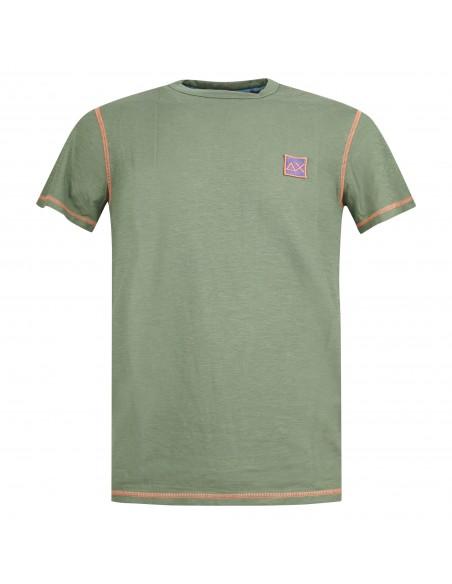 Sun68 - T-shirt verde manica corta con patch logo sul petto per uomo  