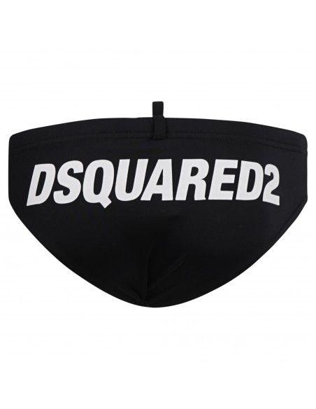 Dsquared2 - Slip mare nero con stampa logo bianca sul retro per uomo |
