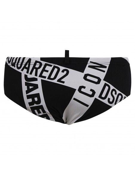 Dsquared2 - Slip mare nero con stampa multi logo bianca per uomo | d7b452530 200
