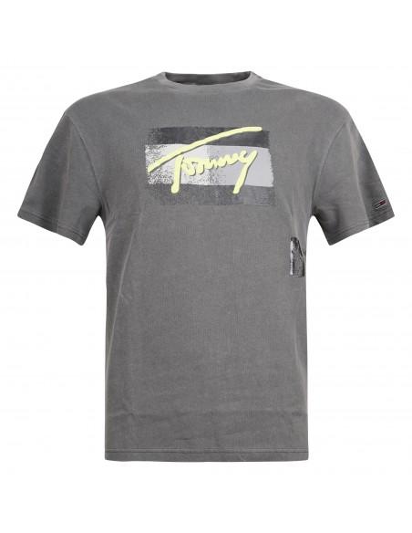 Tommy Jeans - T-shirt grigia manica corta con stampa logo gommata per uomo |