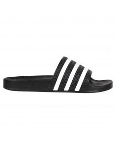 Sandali neri in gomma con tre strisce iconiche bianche