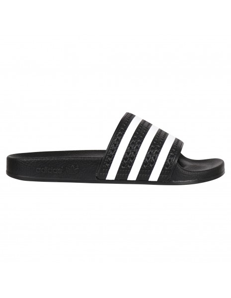Adidas Originals - Sandali neri in gomma con tre strisce iconiche bianche per