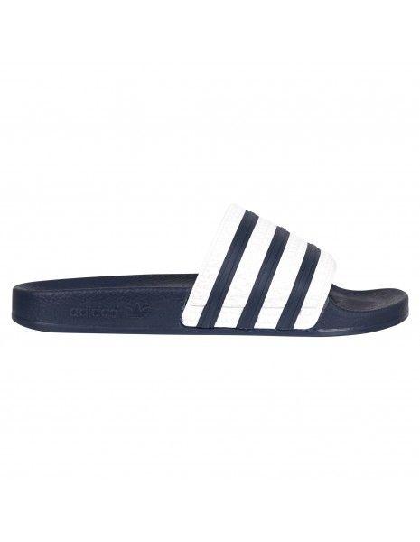 Adidas Originals - Sandali blu in gomma con tre strisce iconiche bianche per