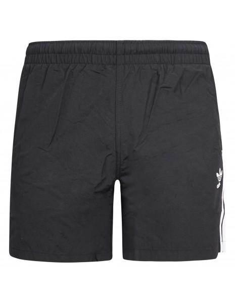 Adidas Originals - Bermuda mare nera con tre strisce iconiche bianche per uomo
