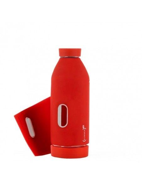 L10 - Borraccia in silicone rosso con applicazione per uomo | clsothall-011016