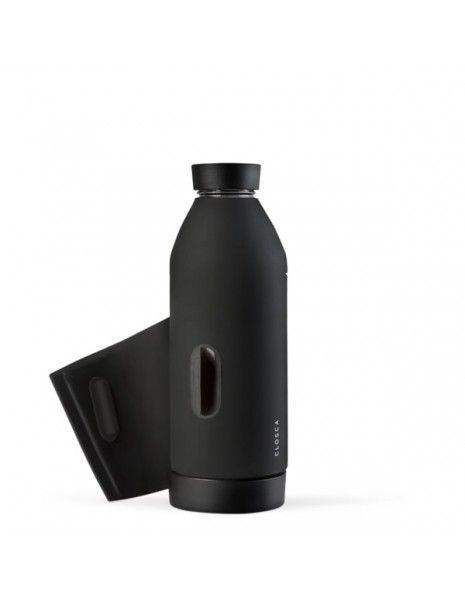 L10 - Borraccia in silicone nera con applicazione per uomo  